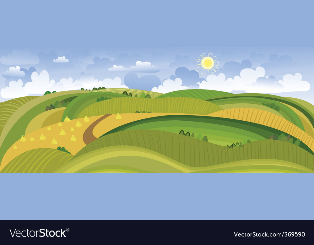 Summer landscape panorama vector | Price: 1 Credit (USD $1)