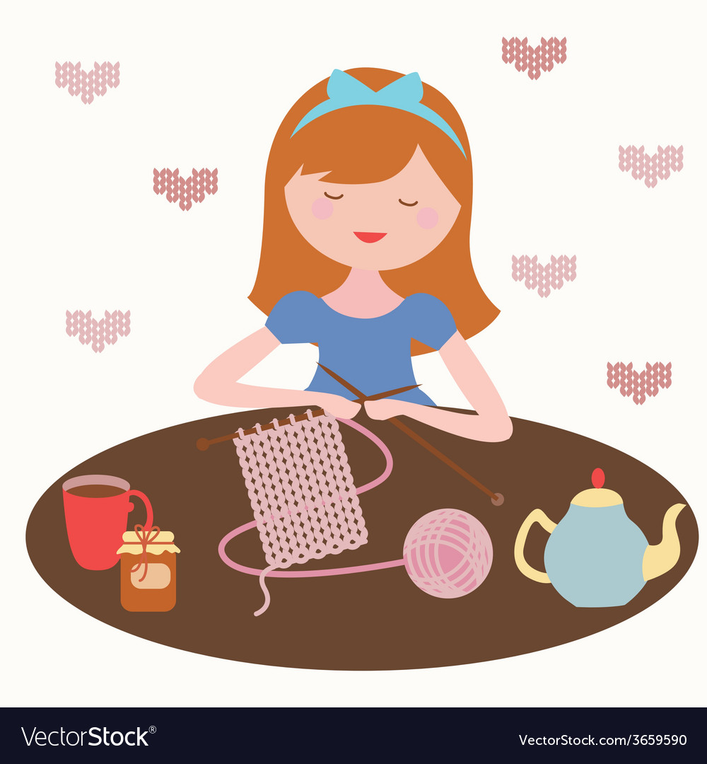 Tea and knit vector | Price: 1 Credit (USD $1)