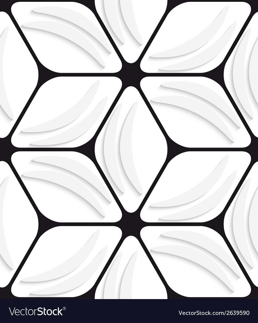 White banana shapes and black hexagon net seamless vector | Price: 1 Credit (USD $1)