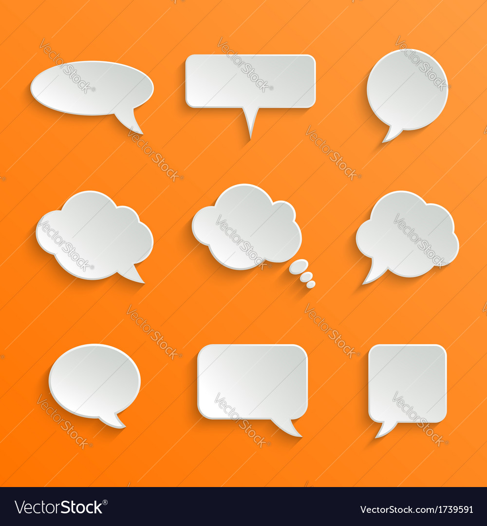 Abstract white speech bubbles set vector | Price: 1 Credit (USD $1)