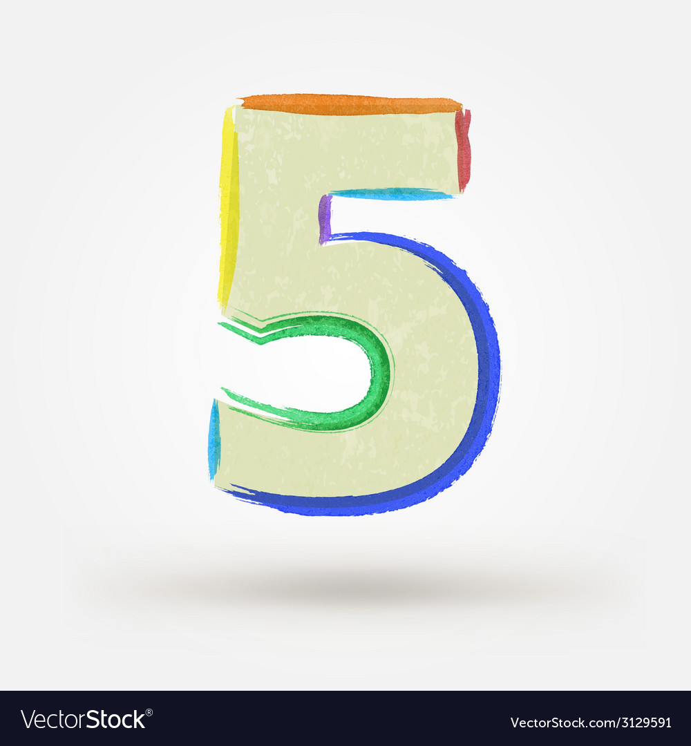 Alphabet letter number five watercolor paint vector | Price: 1 Credit (USD $1)