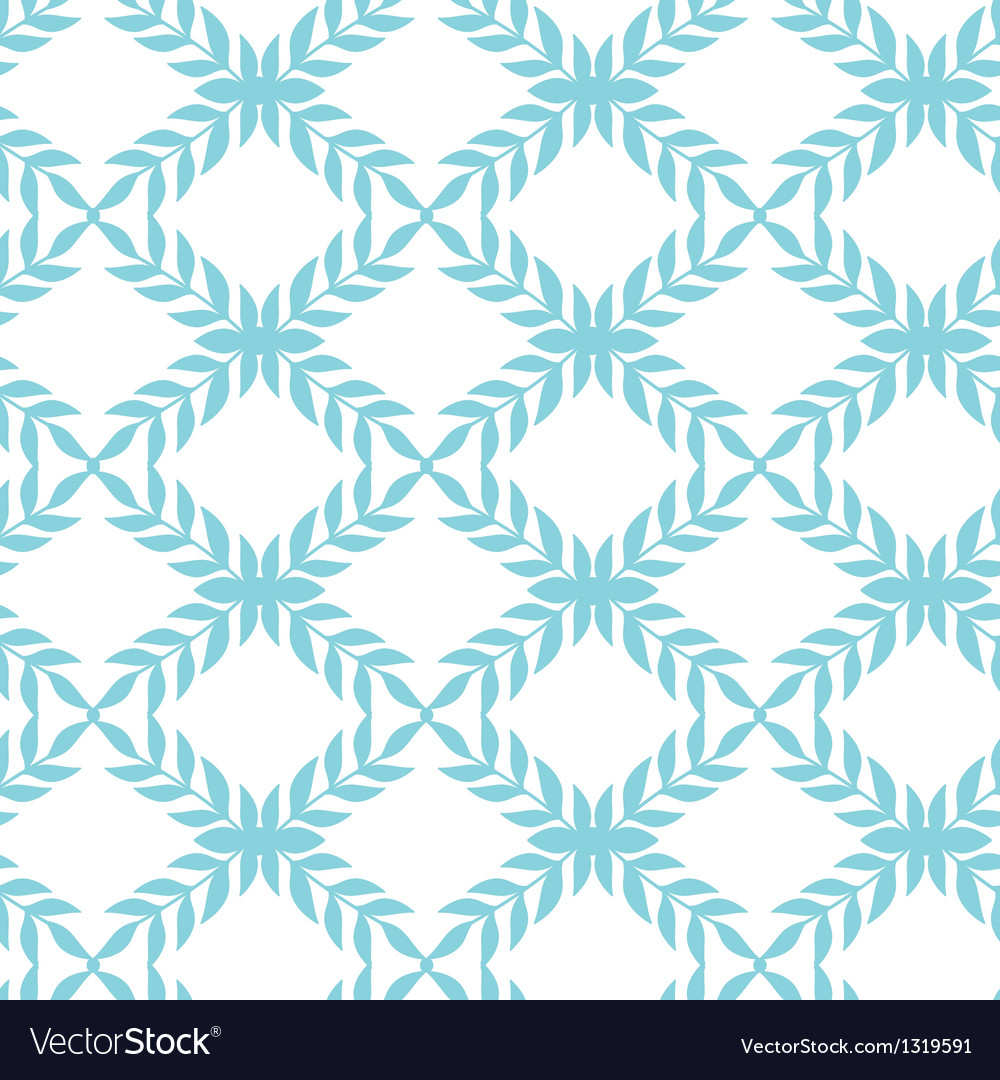 Blue argyle leaves seamless pattern background vector | Price: 1 Credit (USD $1)