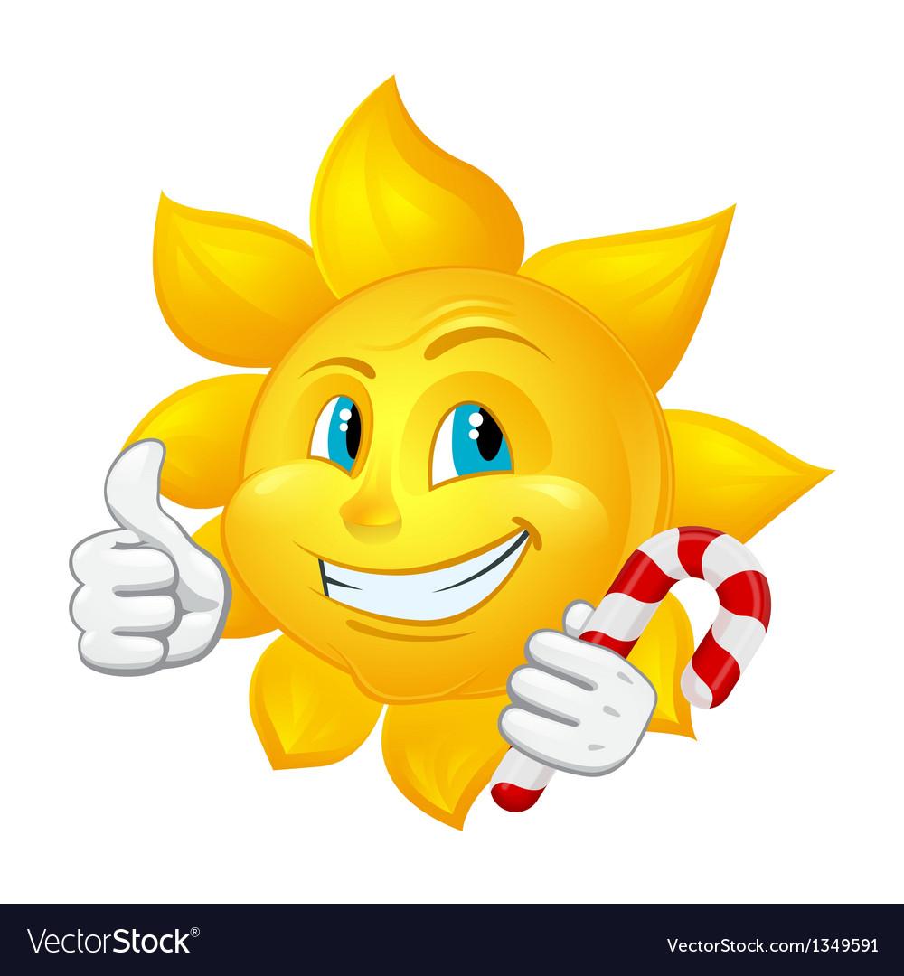 Cartoon sun with lollipop vector | Price: 1 Credit (USD $1)
