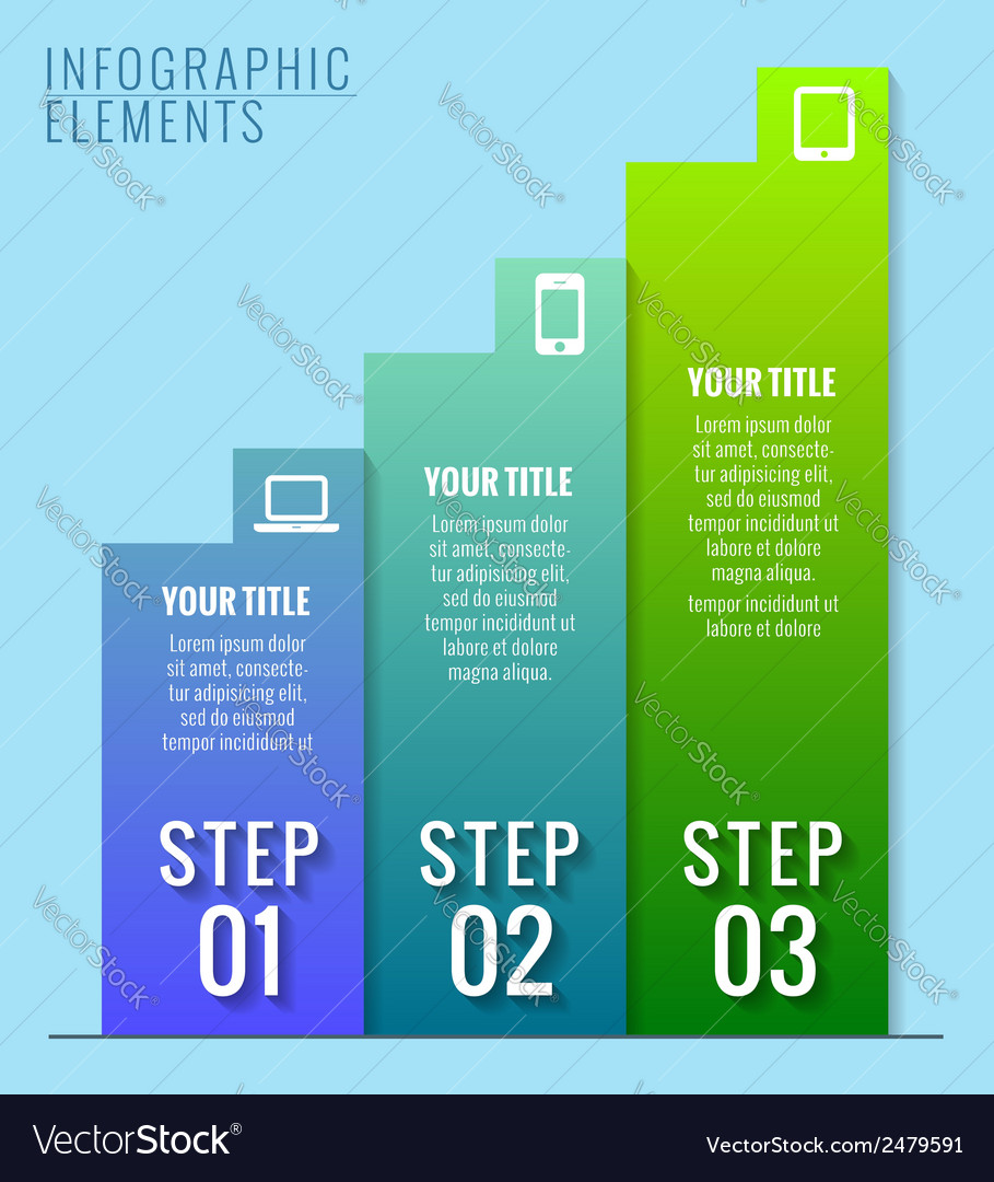 Infographic elements three steps to success vector | Price: 1 Credit (USD $1)