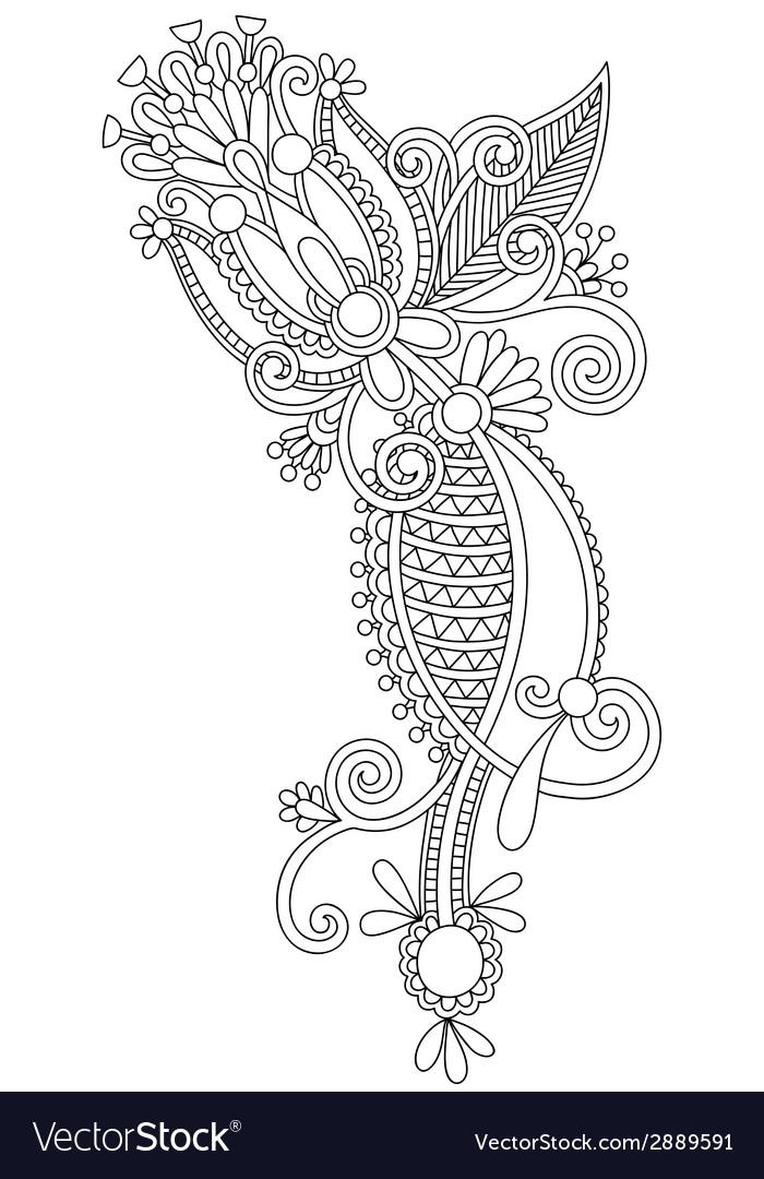 Original hand draw line art ornate flower design vector | Price: 1 Credit (USD $1)