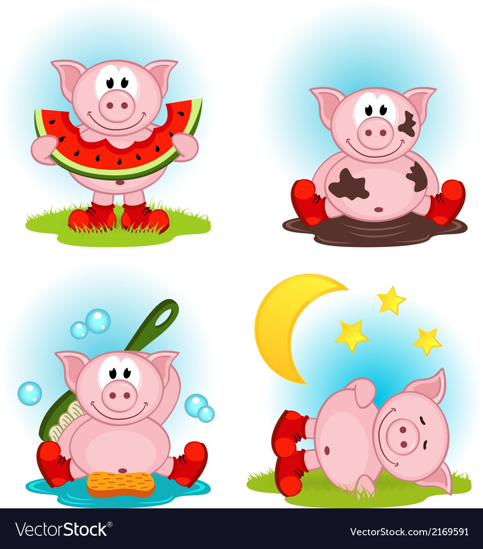 Pig in action vector | Price: 1 Credit (USD $1)