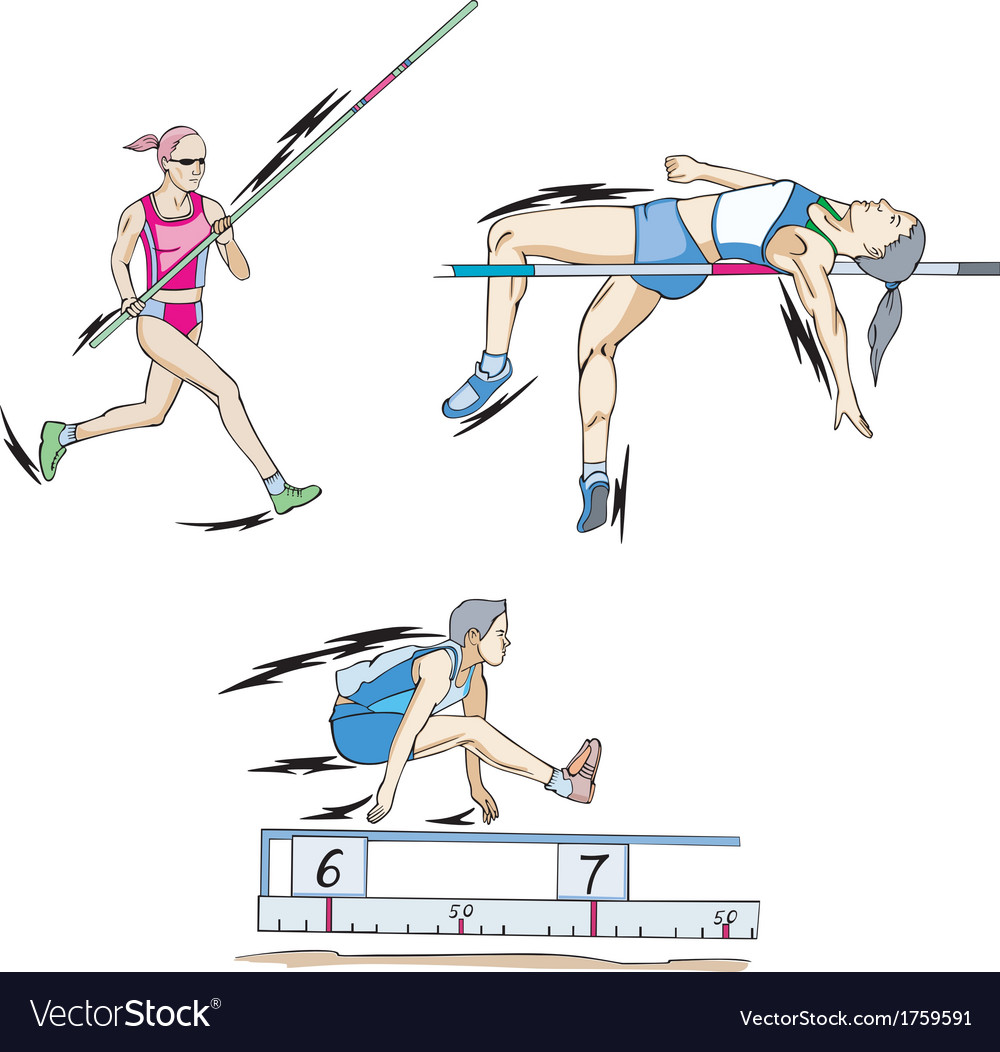 Pole vault high jump and long jump vector | Price: 1 Credit (USD $1)