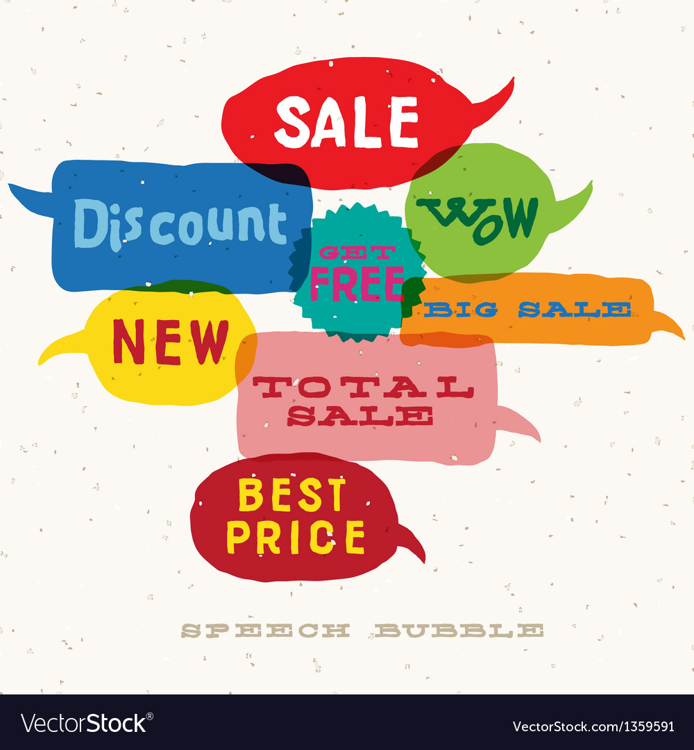 Sale interactive multicolored speech bubbles vector | Price: 1 Credit (USD $1)