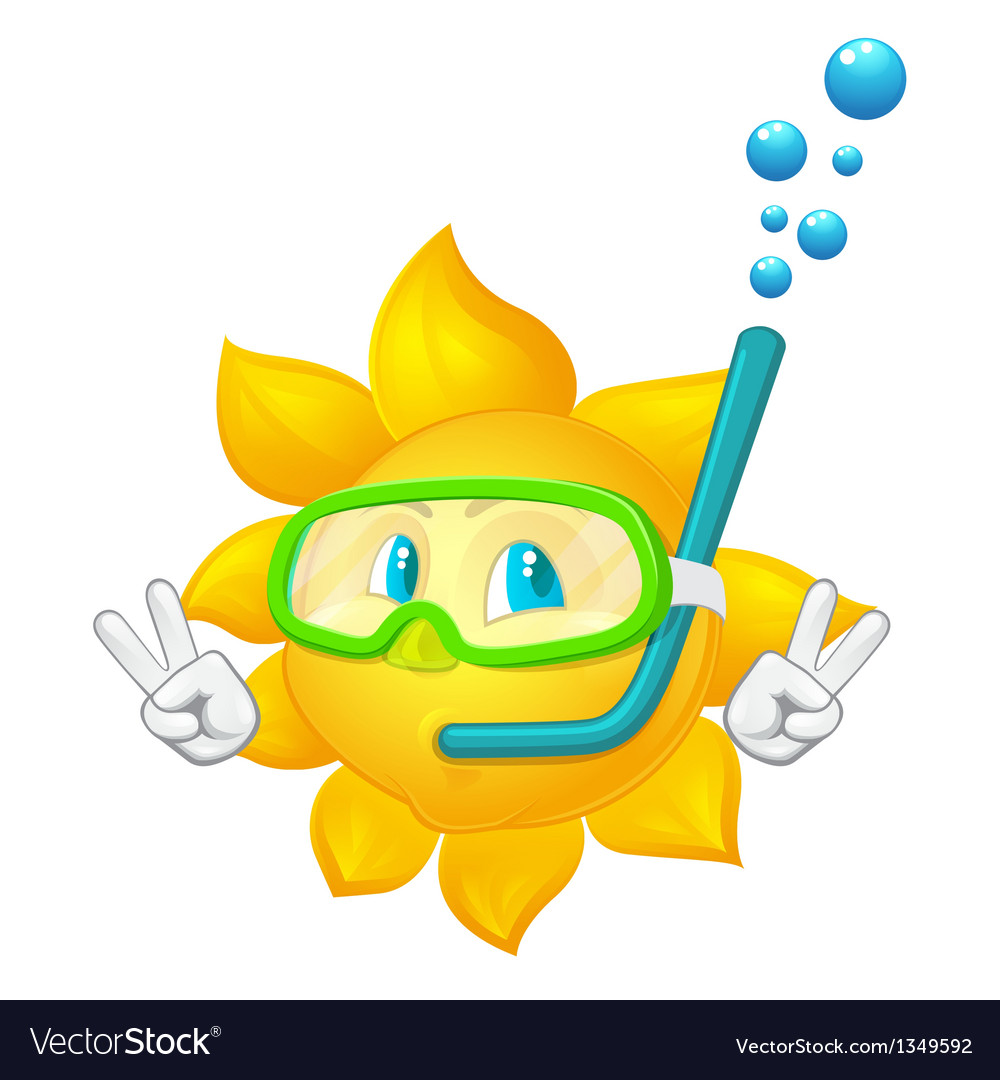 Cartoon sun with mask and snorkel vector | Price: 1 Credit (USD $1)