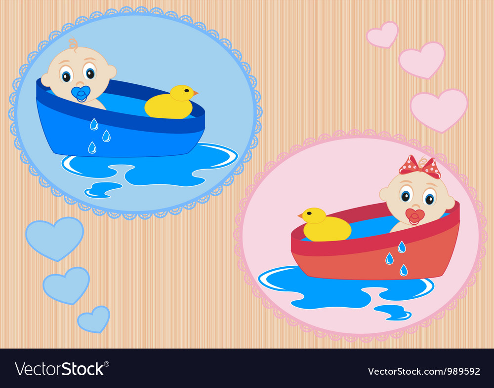 Children bathe in the tub vector | Price: 1 Credit (USD $1)