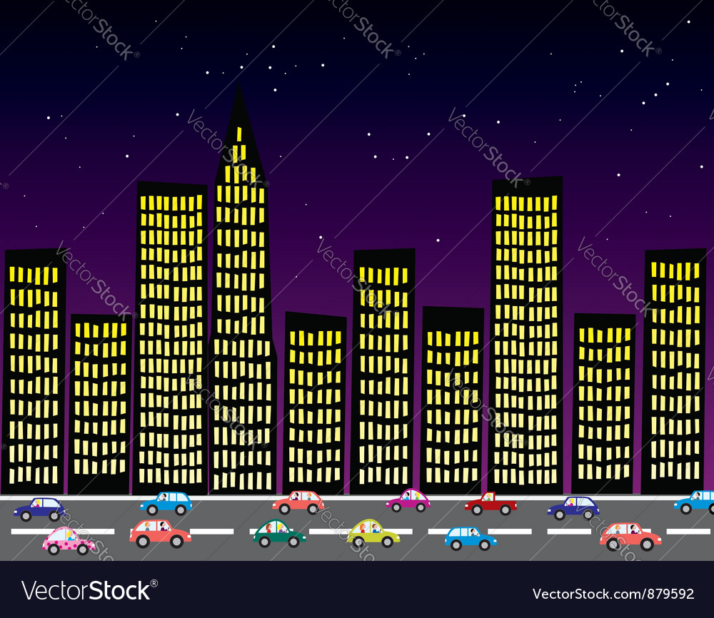 City at night vector | Price: 1 Credit (USD $1)