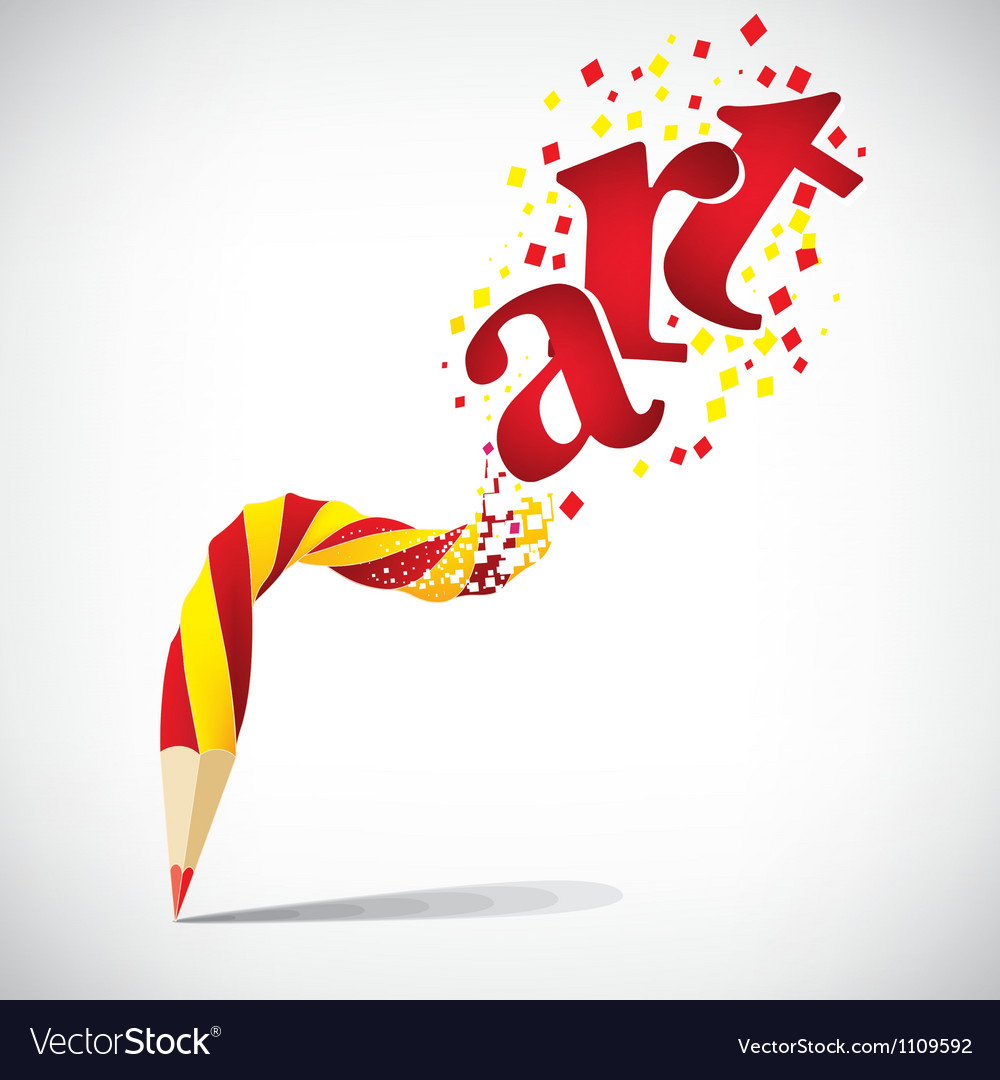Creative pencil with red art isolate on white vector | Price: 1 Credit (USD $1)