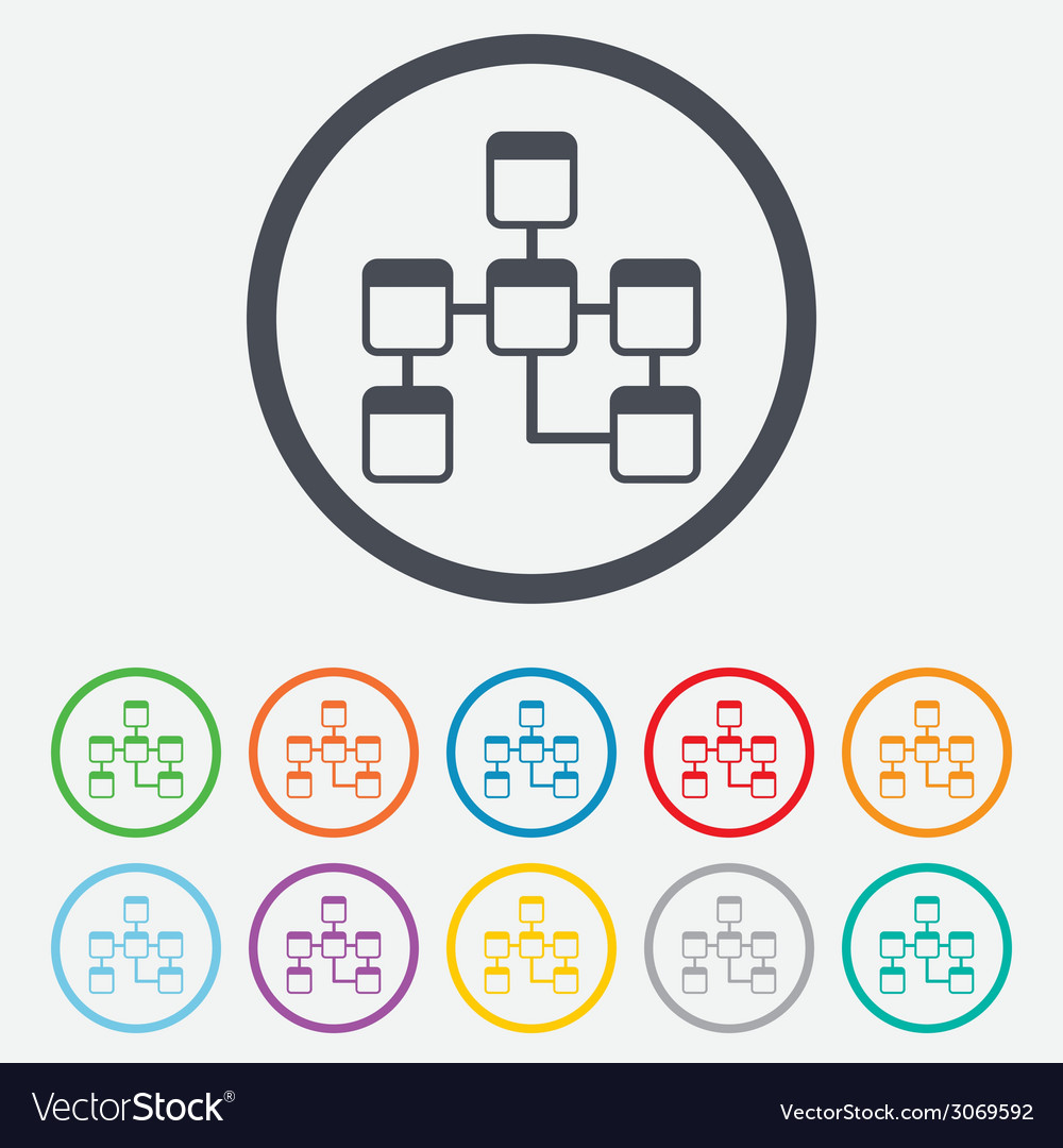 Database sign icon relational database schema vector | Price: 1 Credit (USD $1)