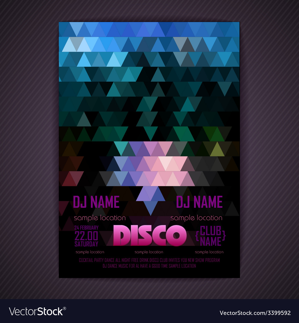 Disco poster geometric triangle background vector | Price: 3 Credit (USD $3)