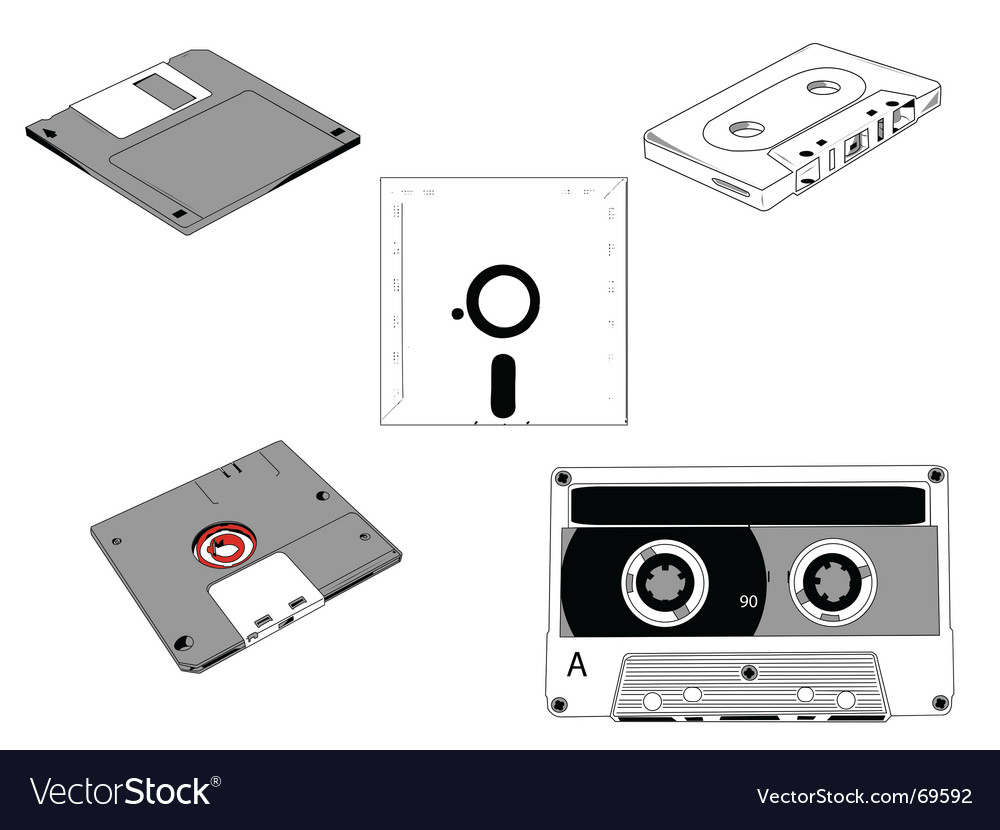 Disks and cassettes vector | Price: 1 Credit (USD $1)