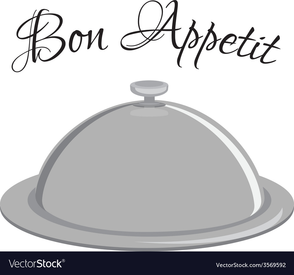 Grey tray with text bon appetit vector | Price: 1 Credit (USD $1)