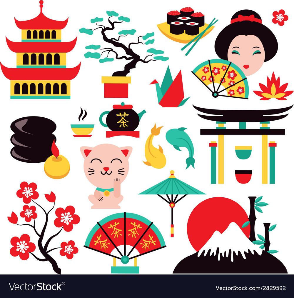 Japan symbols set vector | Price: 1 Credit (USD $1)