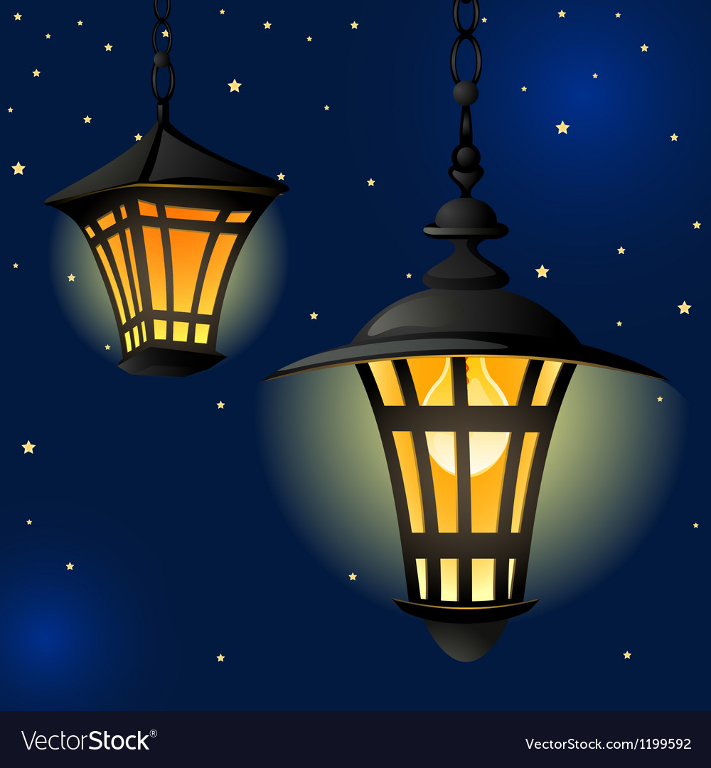 Night with light lanterns and stars easy editable vector | Price: 1 Credit (USD $1)