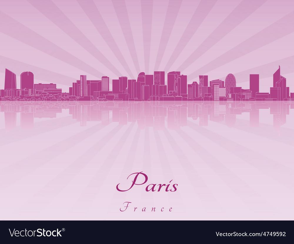 Paris v2 skyline in purple radiant vector | Price: 1 Credit (USD $1)