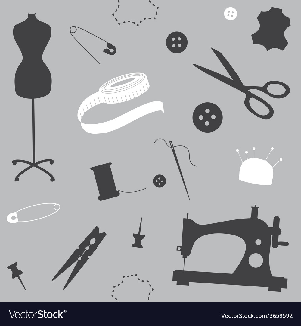 Silver seamless pattern with sewing machine vector | Price: 1 Credit (USD $1)