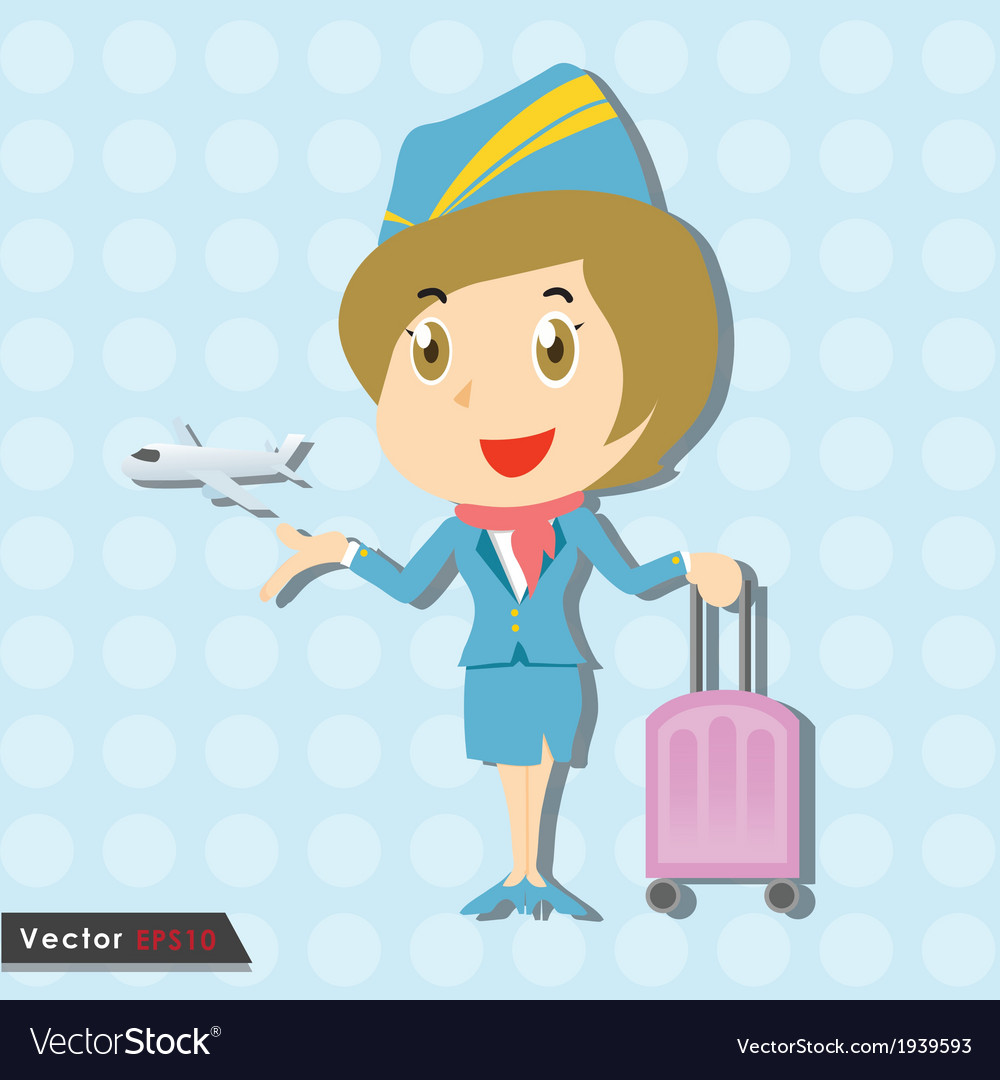 Beautiful stewardess with blue uniform vector | Price: 1 Credit (USD $1)