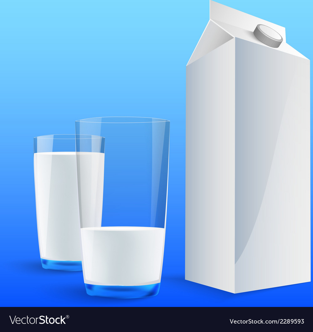 Four glasses of milk vector | Price: 1 Credit (USD $1)