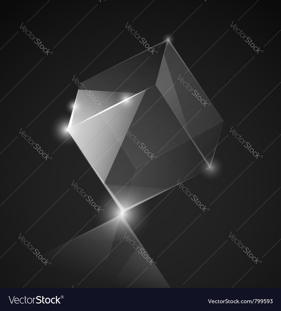 Gray glass cube background vector | Price: 1 Credit (USD $1)
