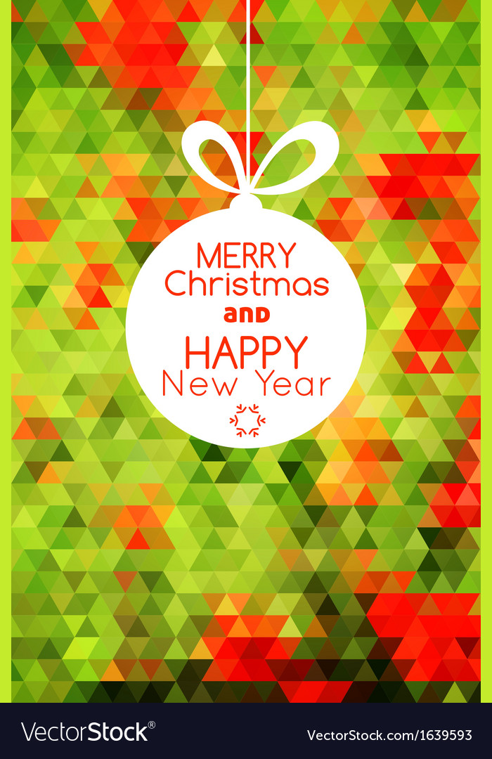 Merry christmas ball card abstract green vector | Price: 1 Credit (USD $1)