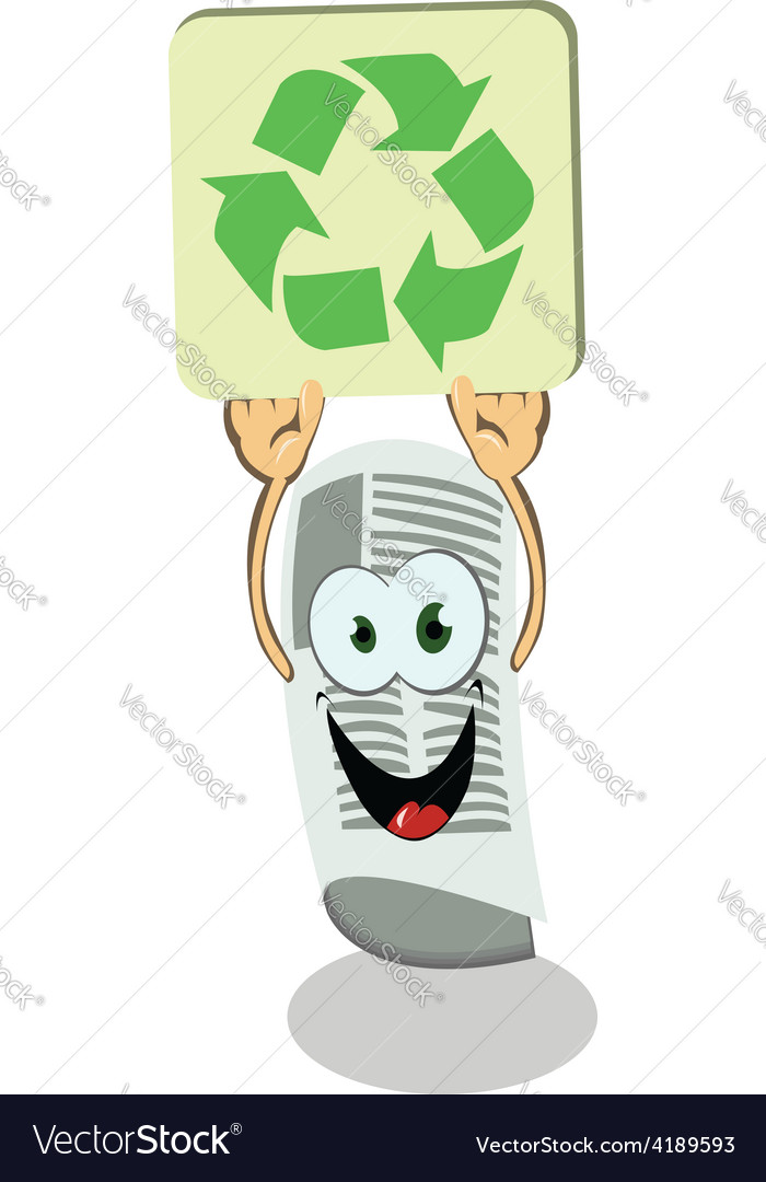 Newspaper holding a recycling sign vector | Price: 1 Credit (USD $1)