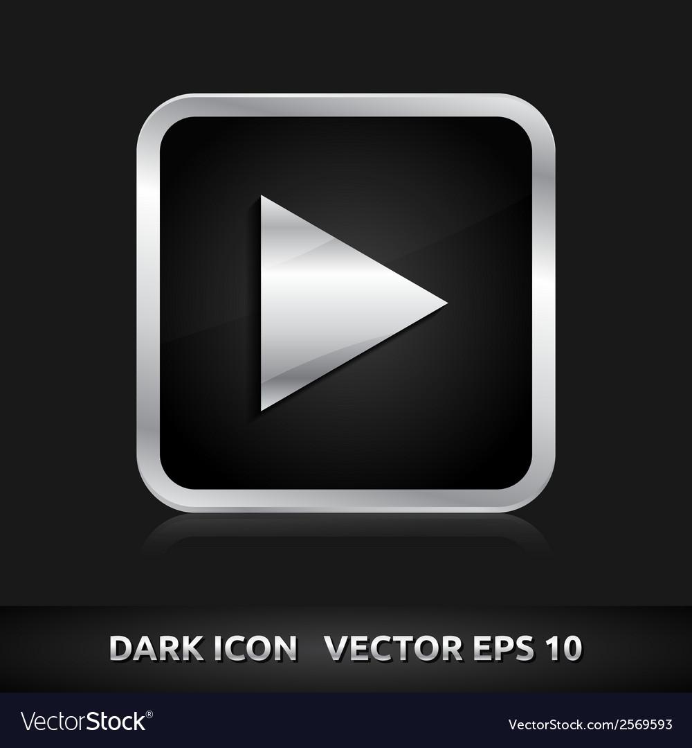 Play arrow icon silver metal vector | Price: 1 Credit (USD $1)