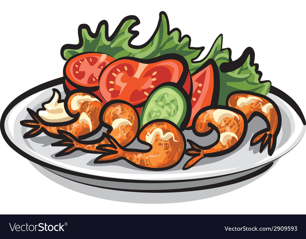 Salad with shrimps vector | Price: 3 Credit (USD $3)