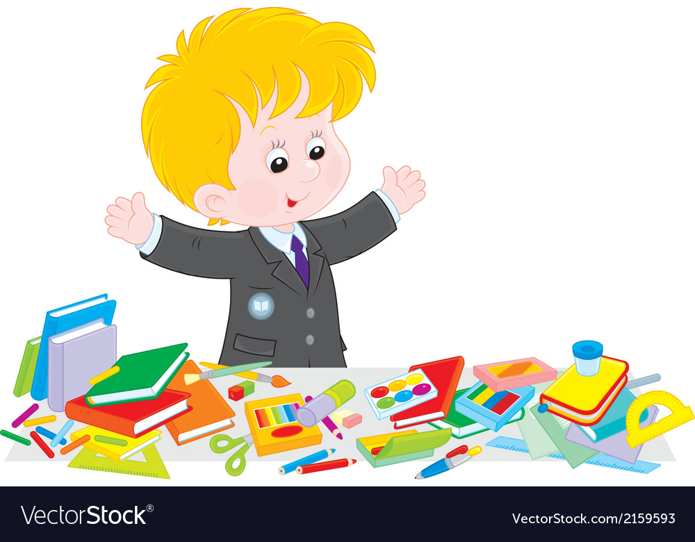 Schoolboy preparing for school vector | Price: 1 Credit (USD $1)