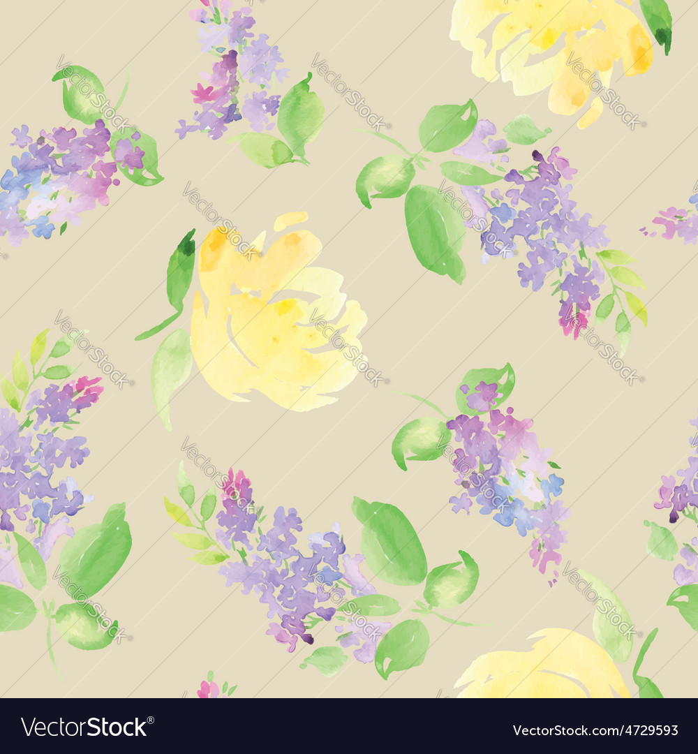 Watercolor flower pattern vector | Price: 1 Credit (USD $1)