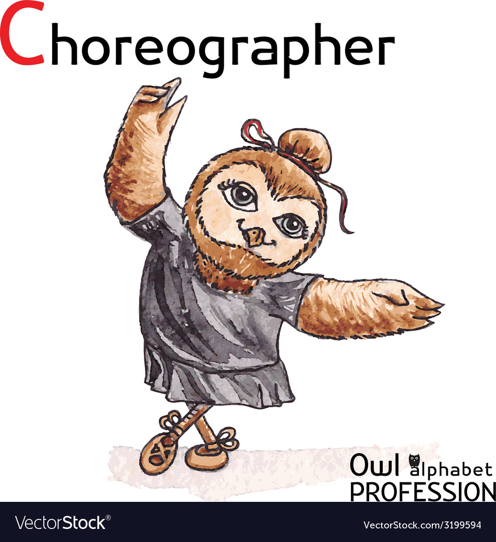 Alphabet professions owl letter c - choreographer vector | Price: 1 Credit (USD $1)