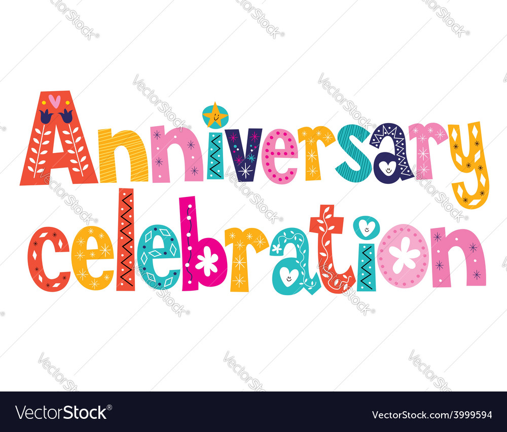 Anniversary celebration decorative lettering text vector | Price: 1 Credit (USD $1)