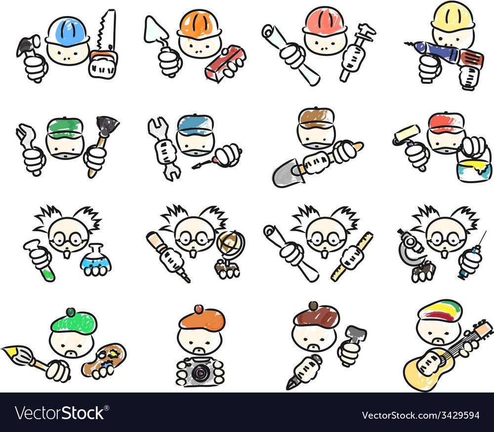 Doodle icons of professions vector | Price: 1 Credit (USD $1)