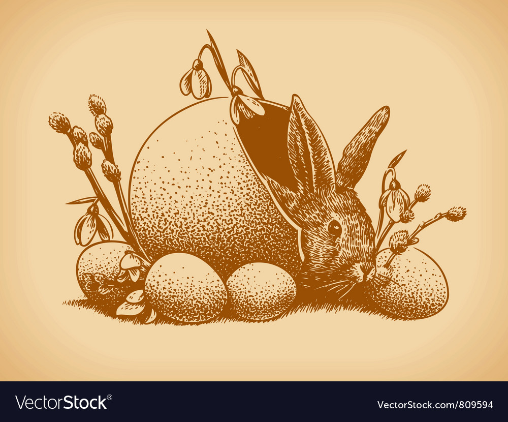 Easter bunny vintage style vector | Price: 1 Credit (USD $1)