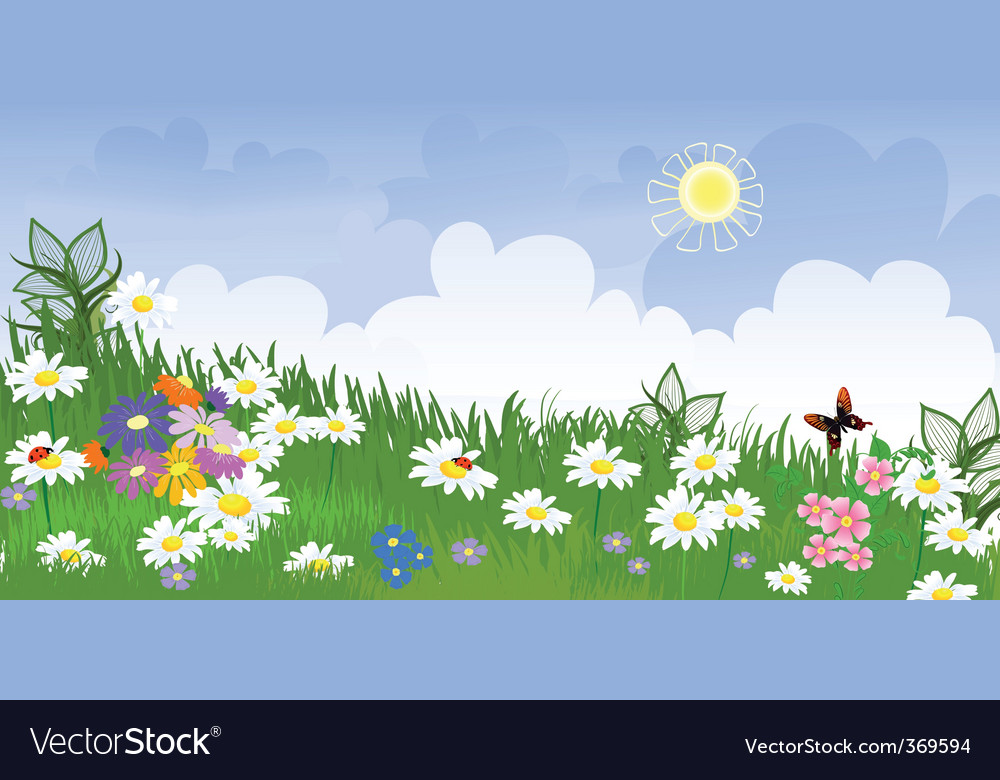 Flower meadow panorama vector | Price: 1 Credit (USD $1)