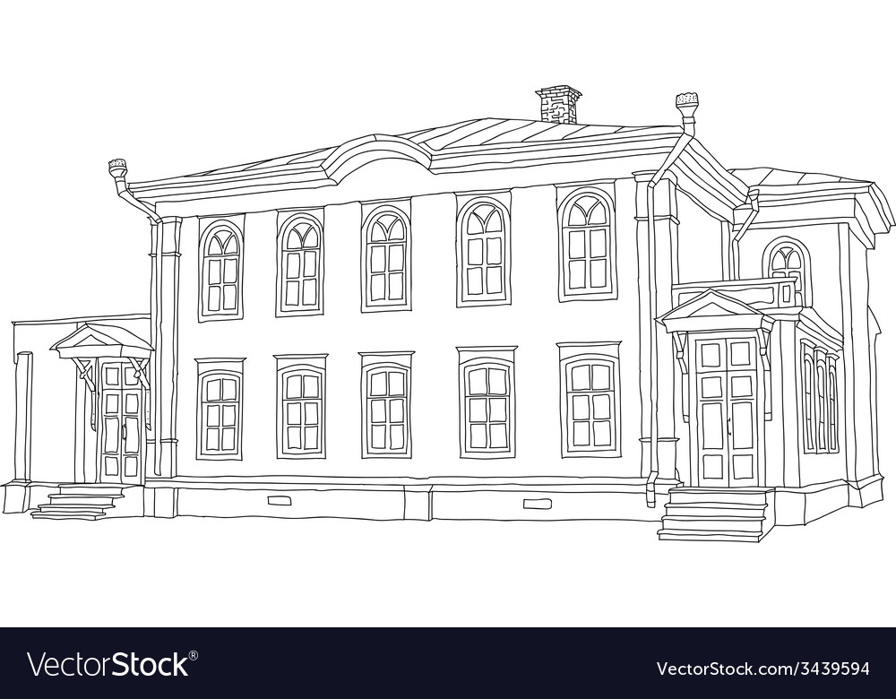 House sketch two-storey wooden house ulyanov lenin vector | Price: 1 Credit (USD $1)