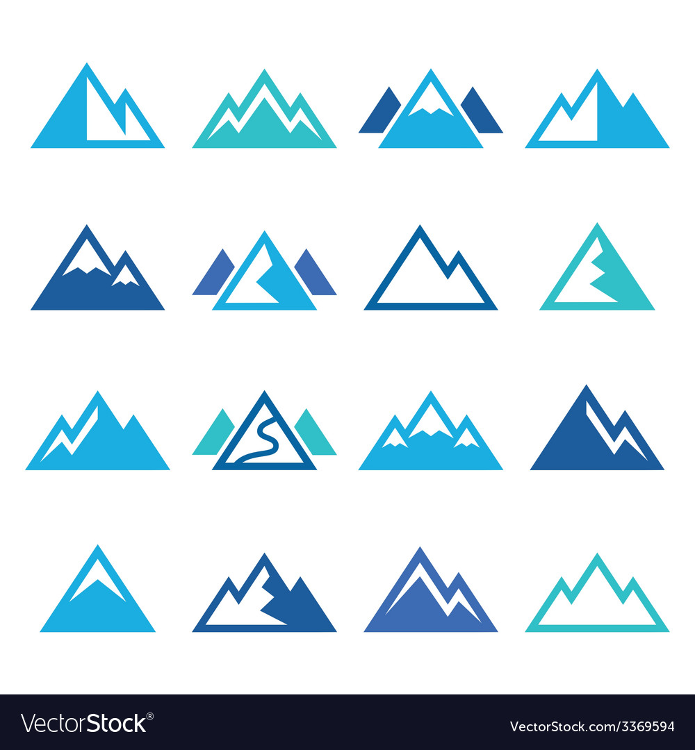 Mountain blue icons set vector | Price: 1 Credit (USD $1)