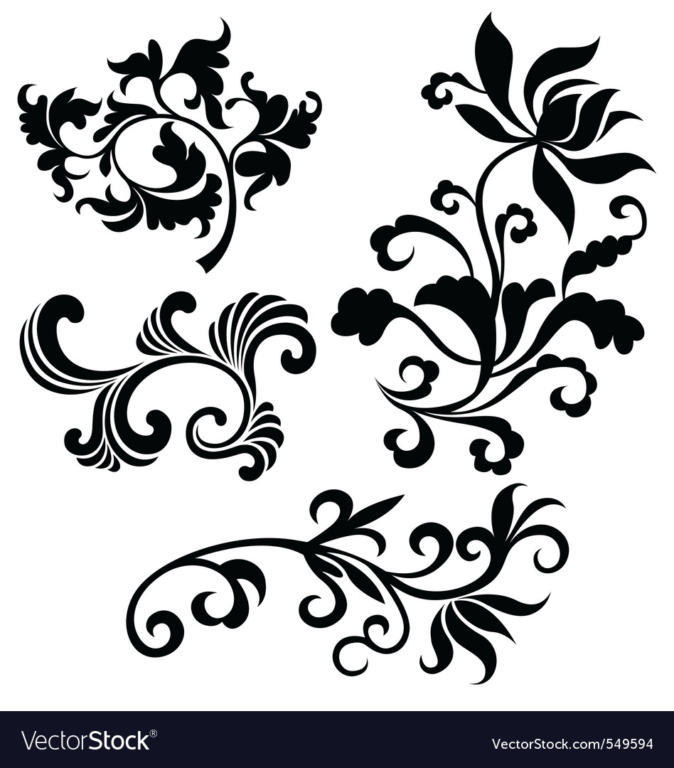 Scroll floral vector | Price: 1 Credit (USD $1)