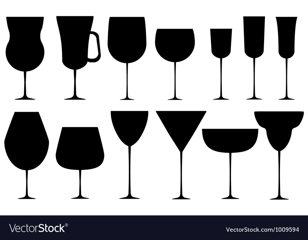 Set of black alcoholic glass vector | Price: 1 Credit (USD $1)