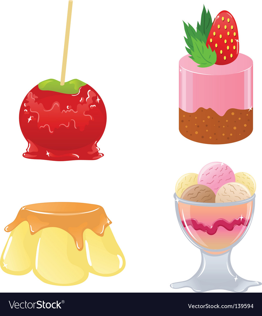 Set of cute desserts vector | Price: 3 Credit (USD $3)