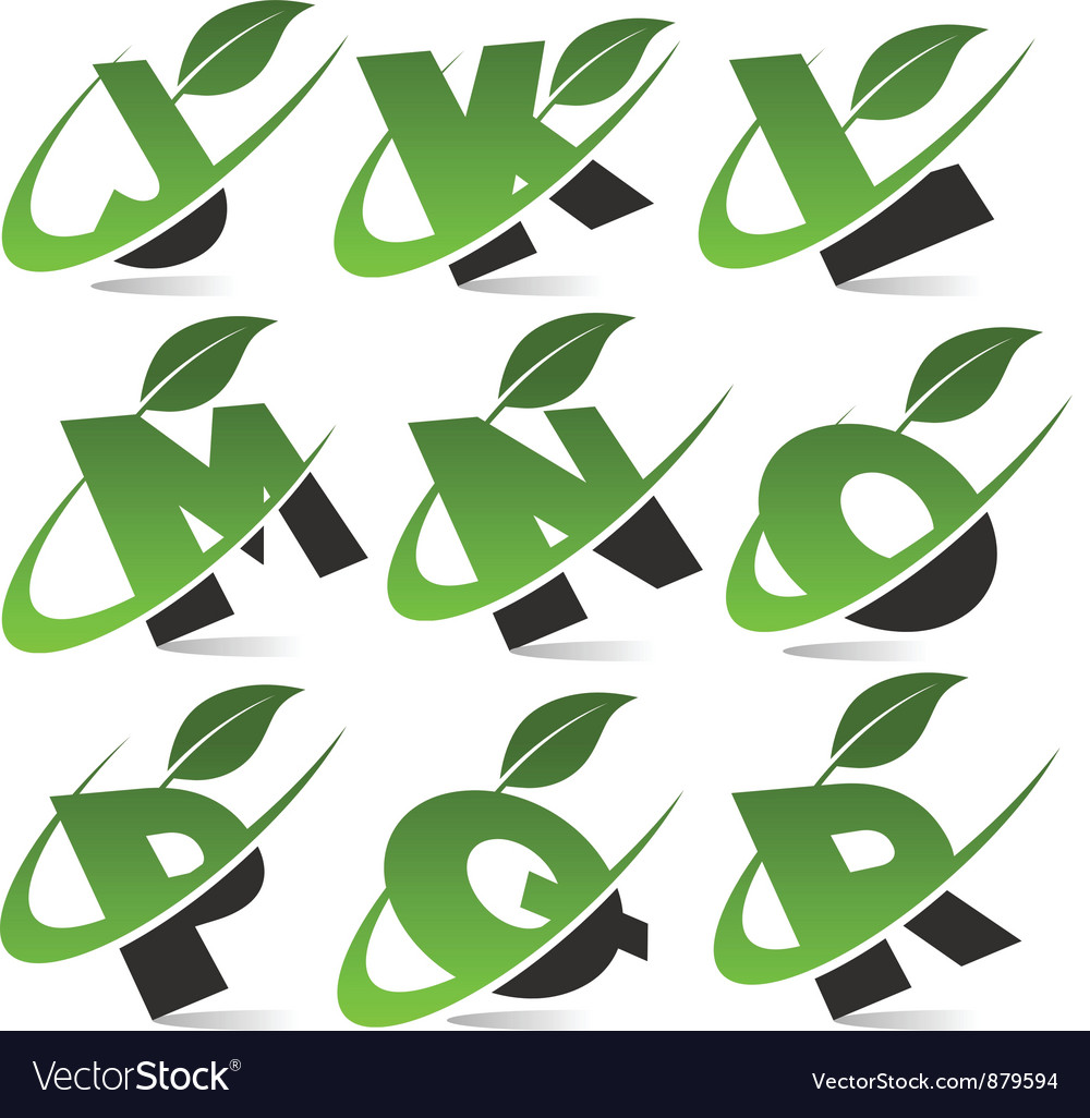 Swoosh green alphabet set2 vector | Price: 1 Credit (USD $1)