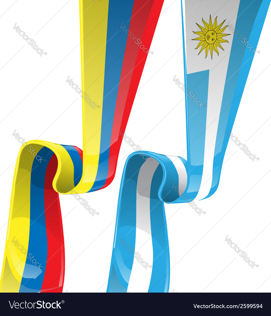 Uruguayan colombian ribbon flag on background vector | Price: 1 Credit (USD $1)