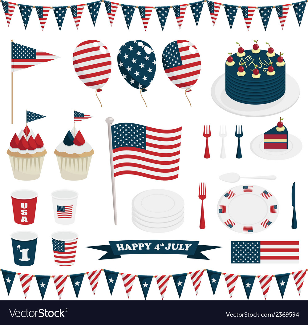 Usa party decorations vector
