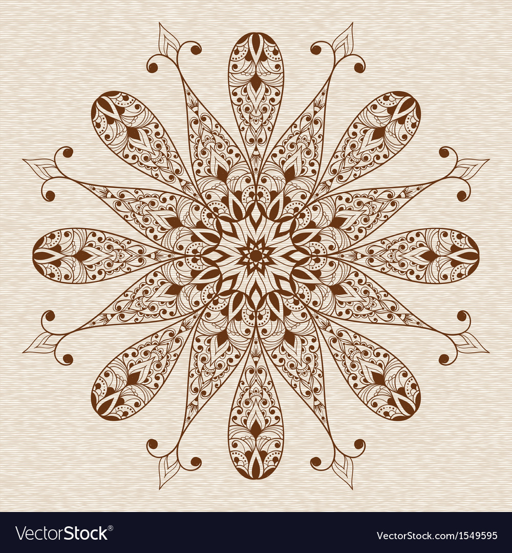 Abstract ethnic floral design element vector | Price: 1 Credit (USD $1)