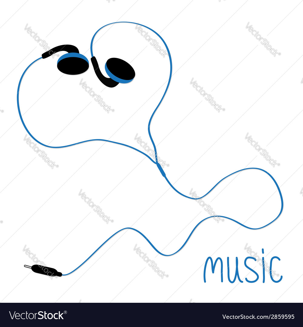 Blue earphones cord in shape of heart flat design vector | Price: 1 Credit (USD $1)