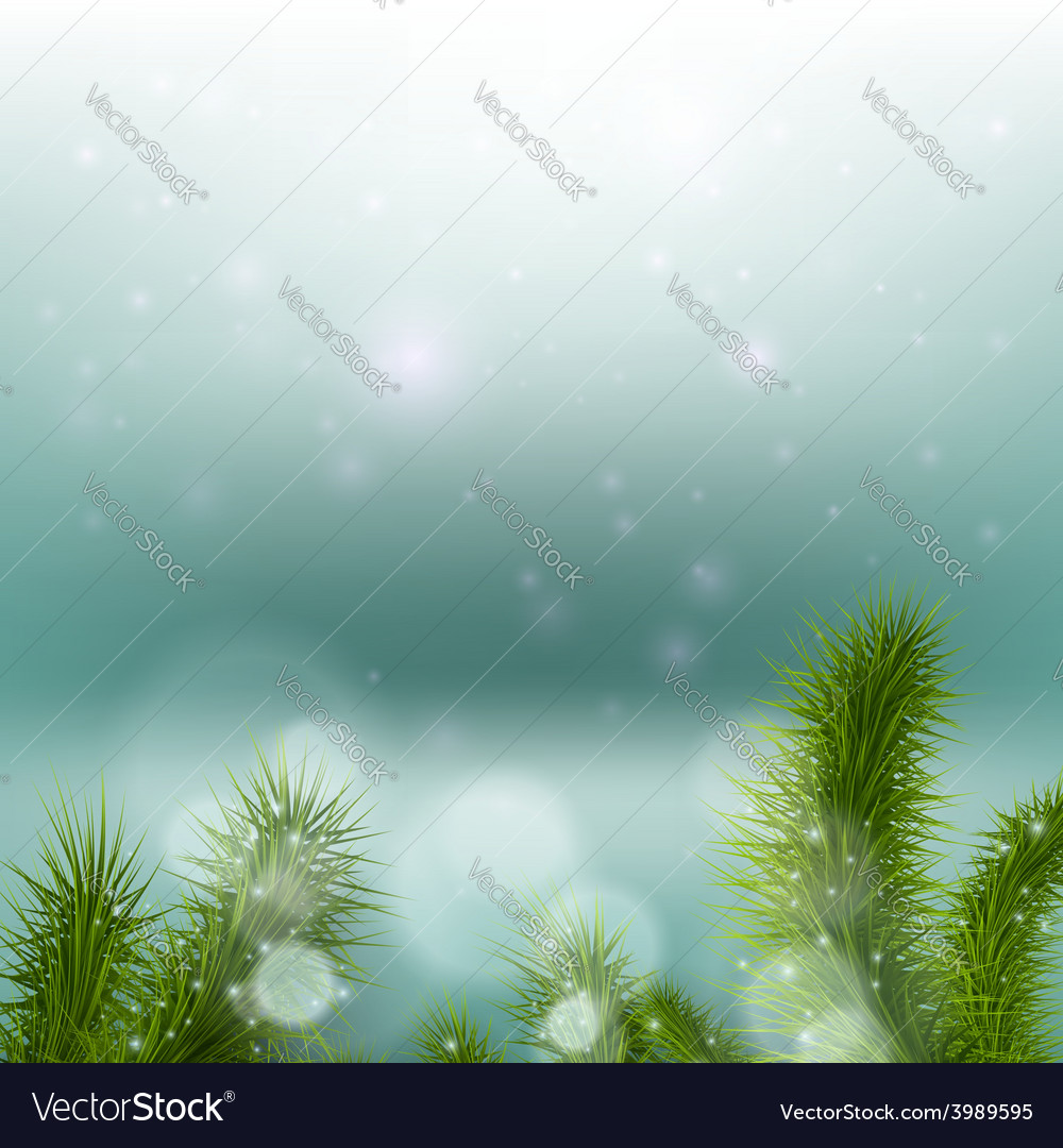 Christmas tree on a background of a snowy vector | Price: 1 Credit (USD $1)