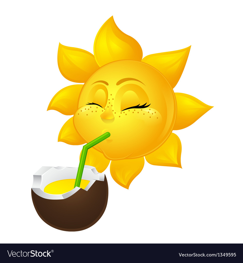 Close eyed sun drinks coconut juice vector | Price: 1 Credit (USD $1)
